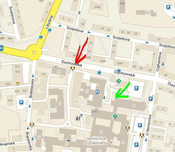 Přístup k testovacímu centru - mapa